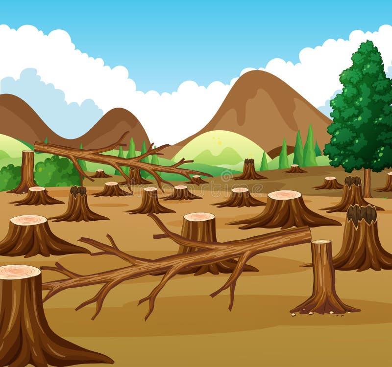 Cena da montanha com opinião do desflorestamento ilustração royalty free