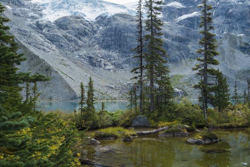 Cena da montanha no terceiro lago superior em Joffre Lake Hike perto de Pemberton fotos de stock