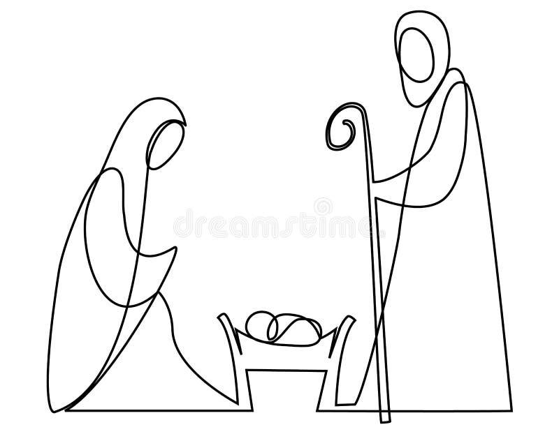 Cena da natividade com família santamente ilustração do vetor