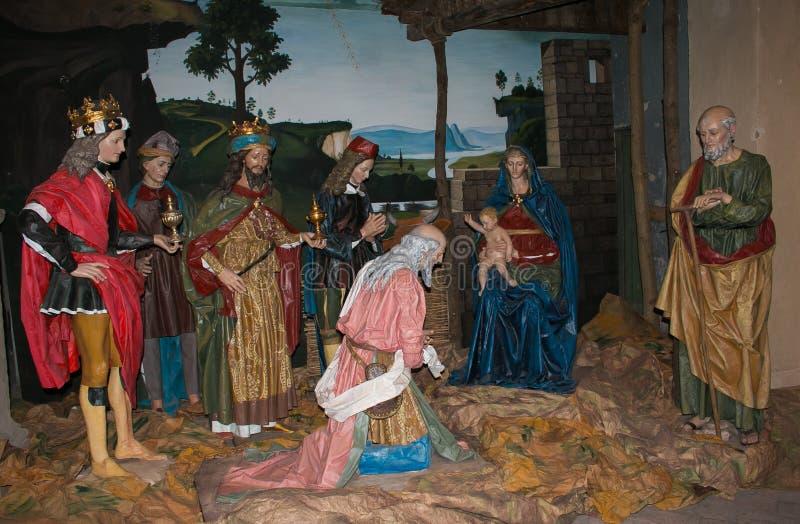 A cena da natividade de Perugino no sho de Massa Martana pelo tempo do Natal imagem de stock royalty free