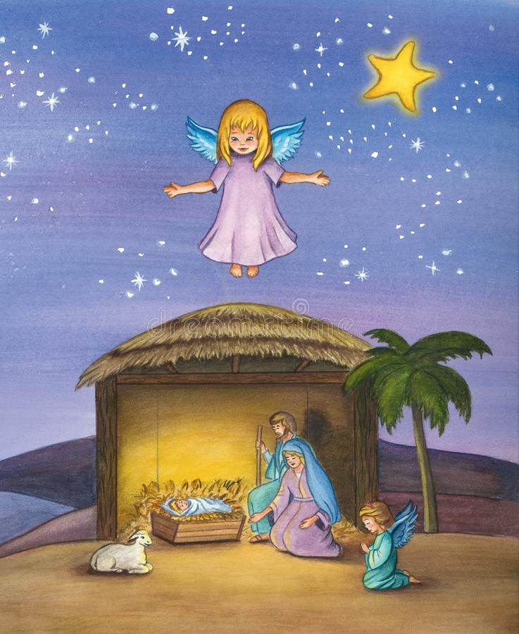 Cena da natividade do Natal do bebê Jesus ilustração royalty free