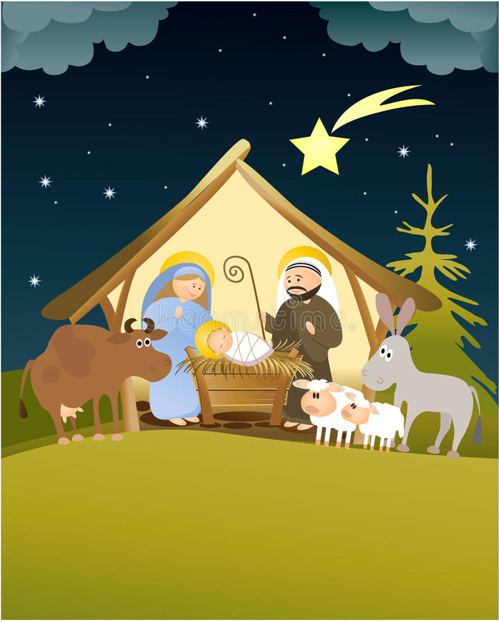 Cena da natividade do Natal com família santamente ilustração do vetor