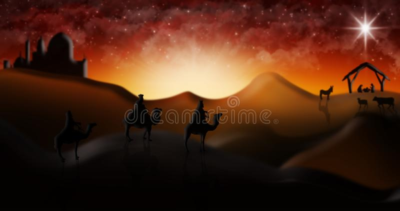 Cena da natividade do Natal de três três Reis Magos dos homens sábios que vão encontrar vagabundos ilustração stock