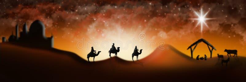 Cena da natividade do Natal de três três Reis Magos dos homens sábios que vão encontrar vagabundos ilustração royalty free