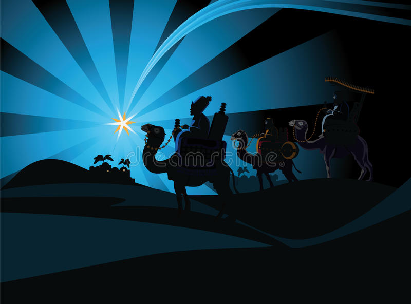 Cena da natividade e os três homens sábios ilustração royalty free