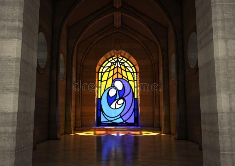 Cena da natividade da janela de vitral ilustração do vetor