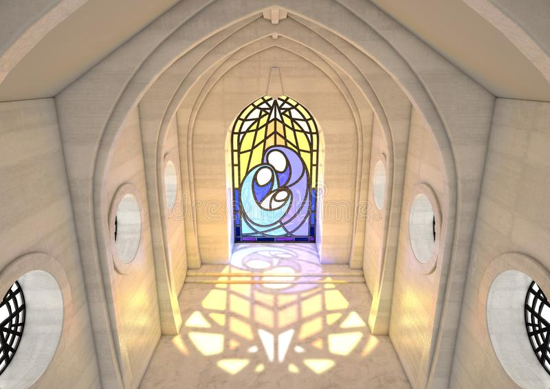 Cena da natividade da janela de vitral ilustração stock