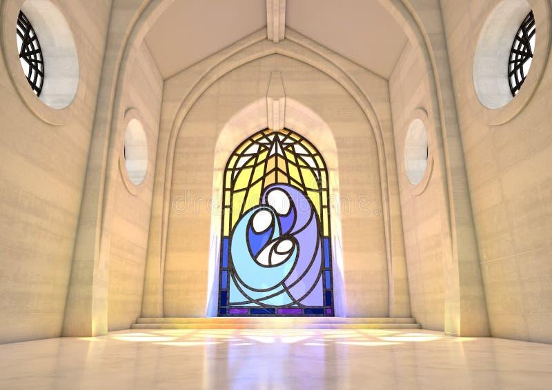 Cena da natividade da janela de vitral ilustração royalty free