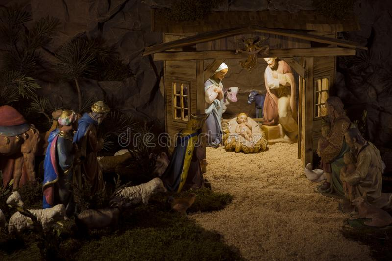 Cena da natividade, Natal, nascimento de Jesus, Mary, Joseph, cristão fotografia de stock