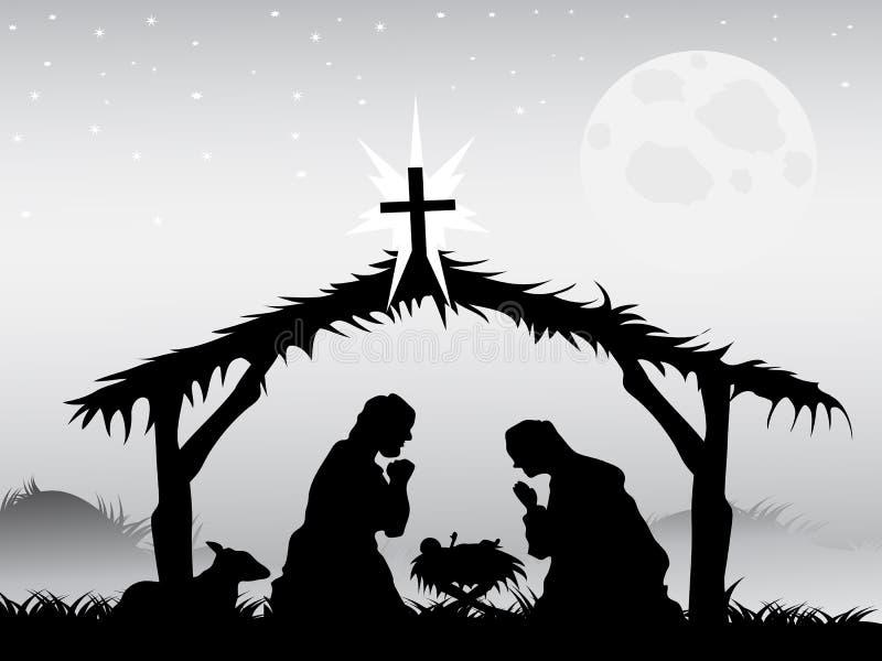 Cena da natividade, vetor ilustração stock