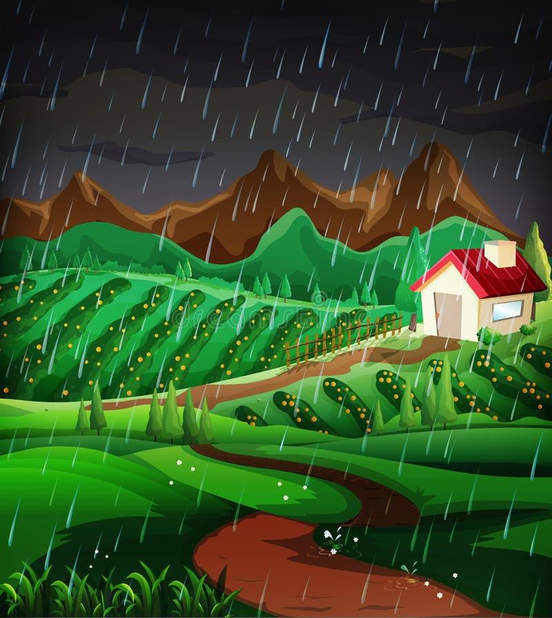 Cena da natureza com chover no montanhês ilustração stock