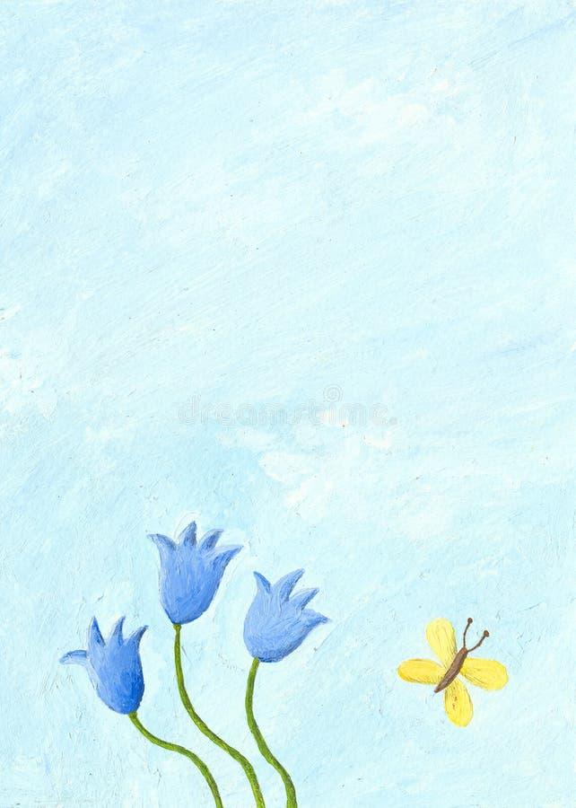 Cena da natureza com flores azuis ilustração do vetor