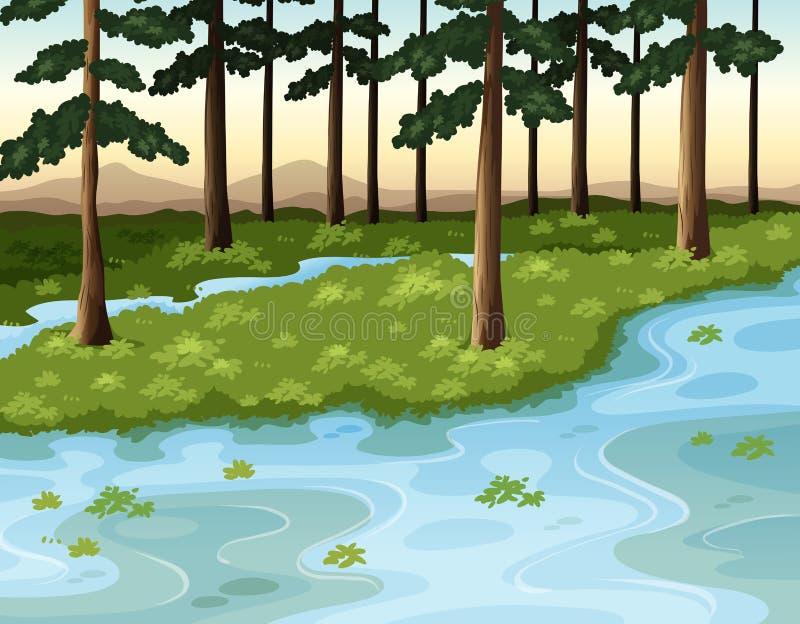 Cena da natureza com floresta e rio ilustração stock