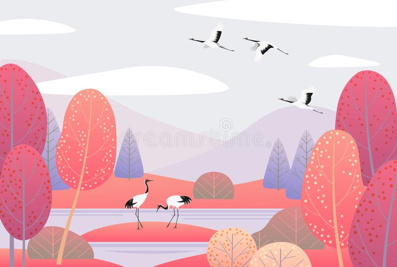 Cena da natureza com guindastes e Autumn Trees japoneses ilustração do vetor