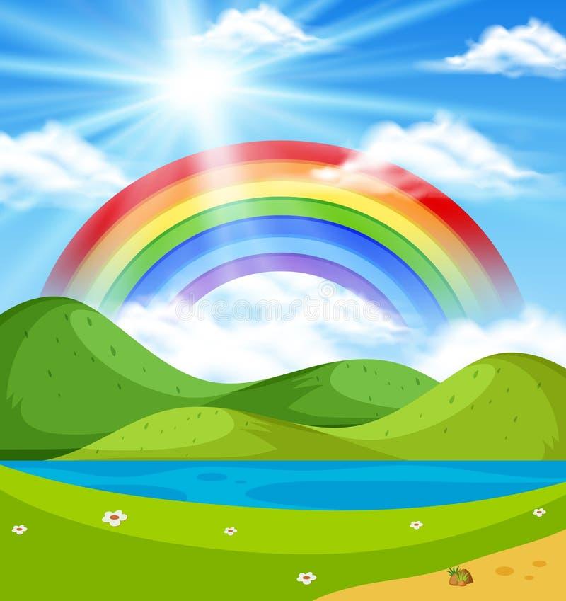 Cena da natureza com o arco-íris sobre os montes ilustração stock