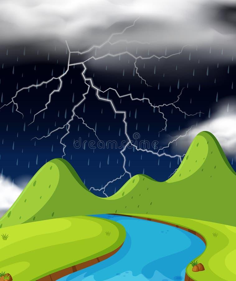 Cena da natureza com relâmpago e chover na noite ilustração royalty free