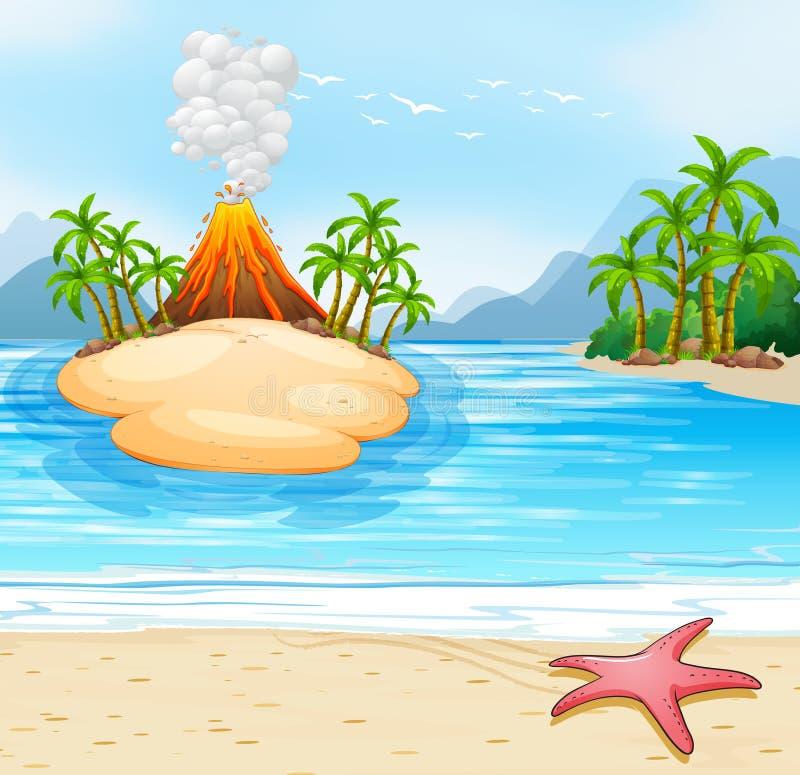 Cena da natureza do oceano das ilhas ilustração stock