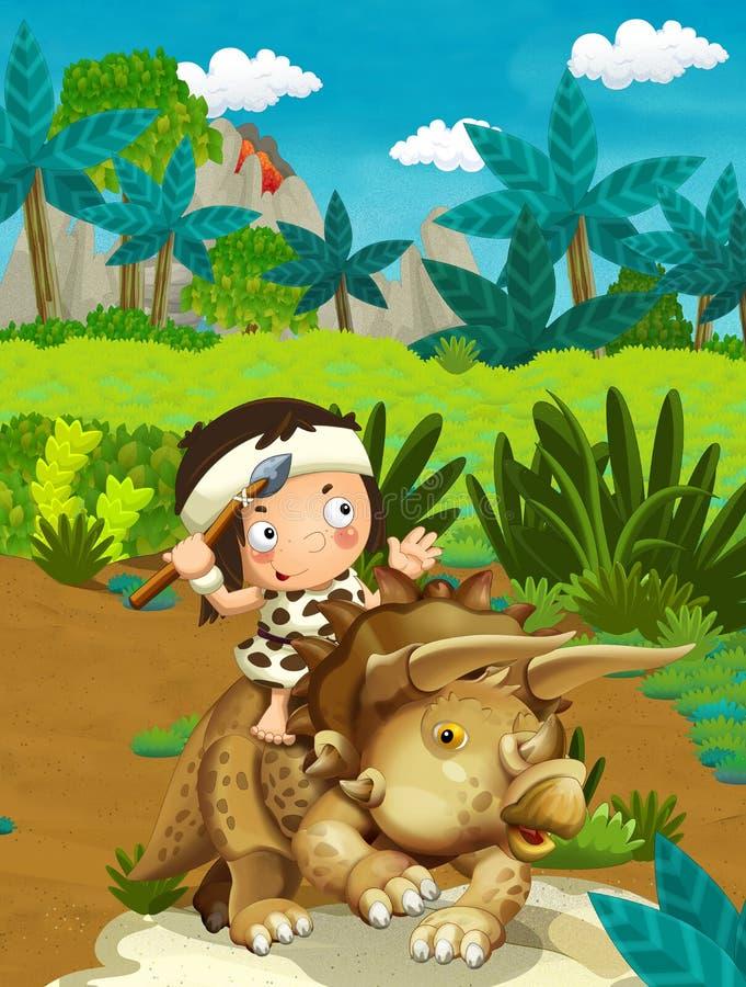 Cena da natureza dos desenhos animados com homem das cavernas - selva - família da Idade da Pedra - com o menino engraçado do man ilustração royalty free