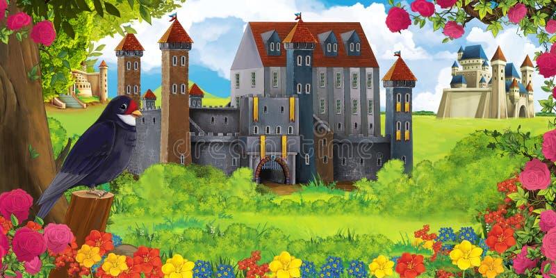 Cena da natureza dos desenhos animados com os castelos bonitos perto da floresta e do pássaro de descanso do cuco ilustração do vetor