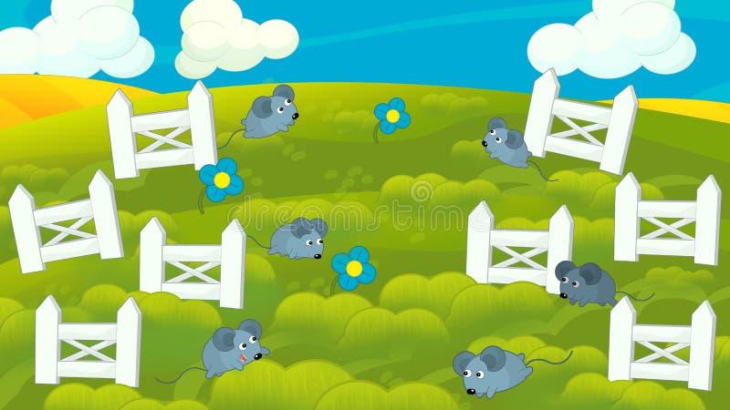 Cena da natureza dos desenhos animados dos ratos no prado e na cerca branca