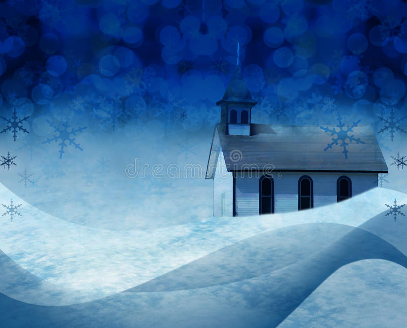 Cena da neve da igreja do Natal imagens de stock