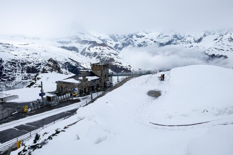 Cena da neve no paraíso da geleira de Gornergrat fotos de stock royalty free
