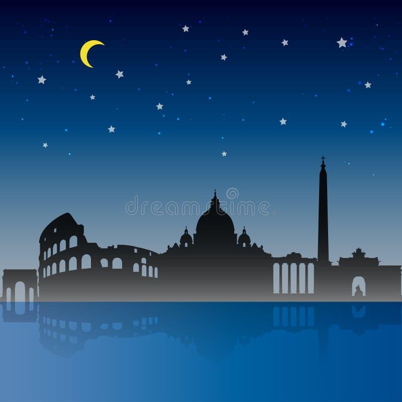 Cena da noite da cidade de Roma, curso a Roma ilustração royalty free