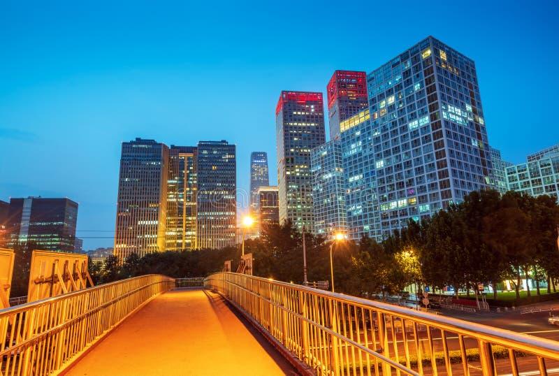 Cena da noite da cidade do Pequim imagens de stock