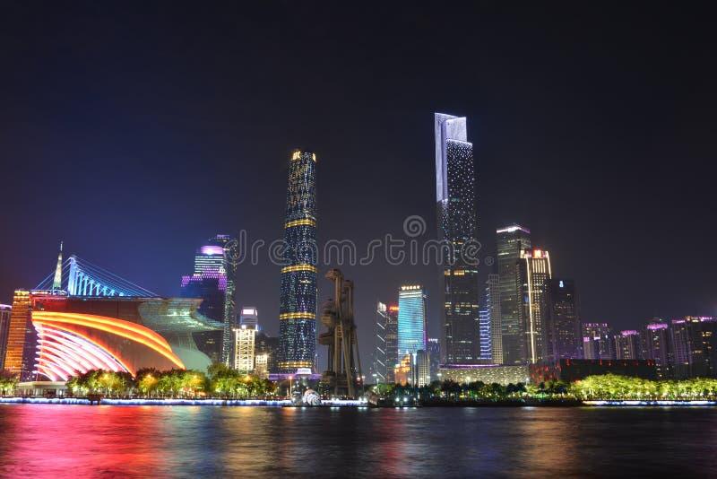A cena da noite da cidade nova de Zhujiang em Guangzhou, China fotos de stock