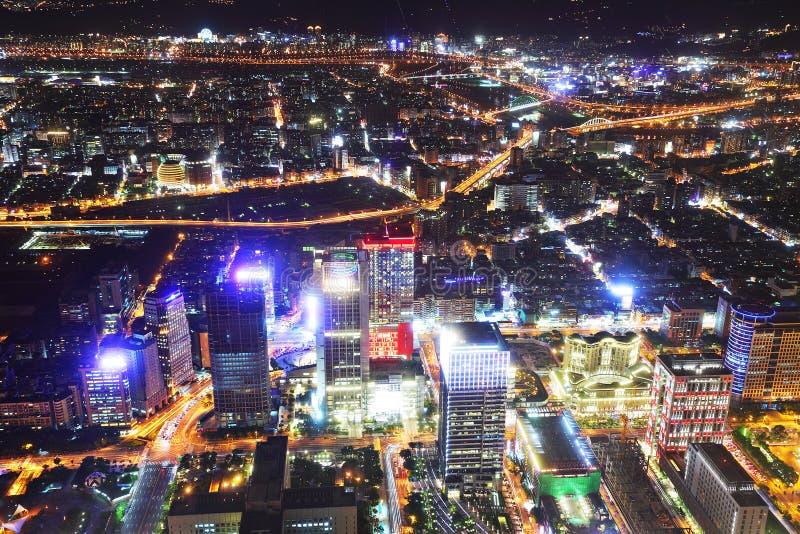 Cena da noite da cidade de Taipei fotos de stock royalty free
