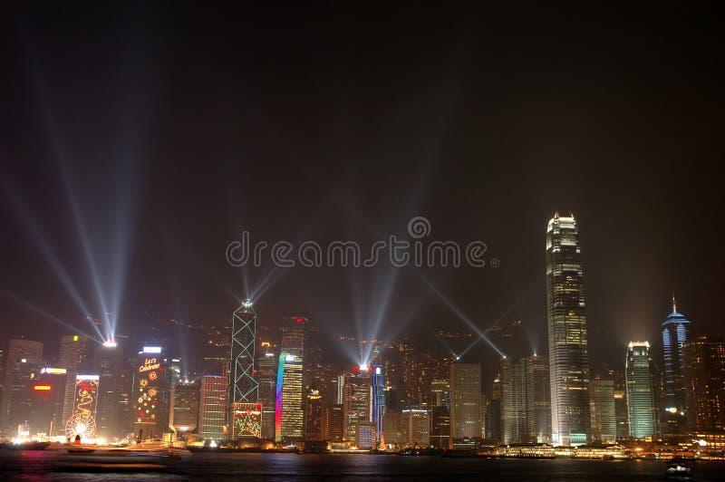 Cena da noite da skyline de Hong Kong foto de stock