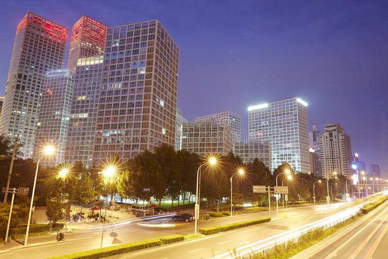 Cena da noite de CBD, cidade do Pequim imagens de stock