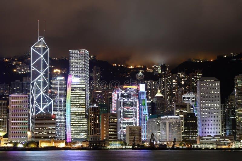 Cena da noite de Hong Kong fotografia de stock royalty free