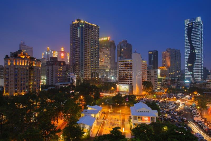 Cena da noite de Taichung, Taiwan fotografia de stock royalty free