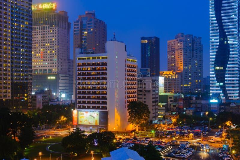 Cena da noite de Taichung, Taiwan fotografia de stock