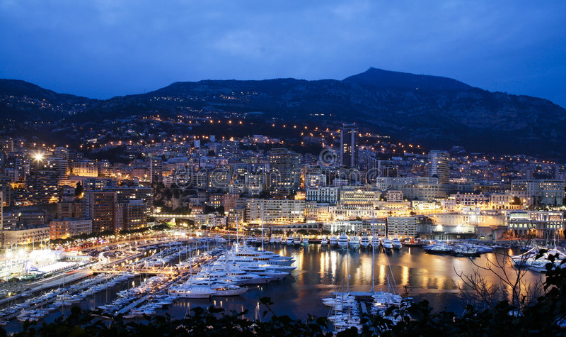 Cena da noite do louro de Monaco fotografia de stock royalty free