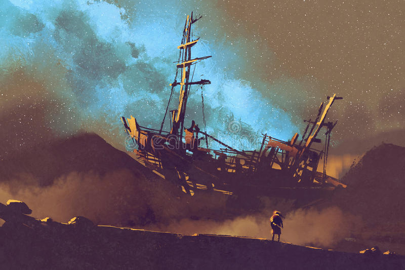 Cena da noite do navio abandonado no deserto com céu stary ilustração royalty free