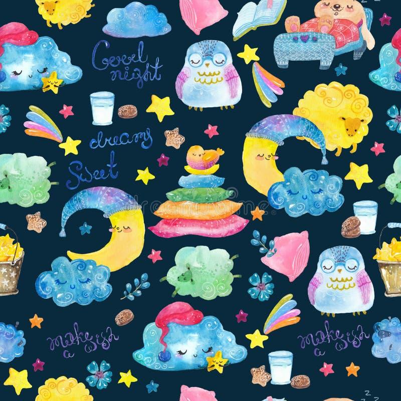 Cena da noite dos desenhos animados com nuvem bonito e estrela, teste padrão sem emenda ilustração do vetor