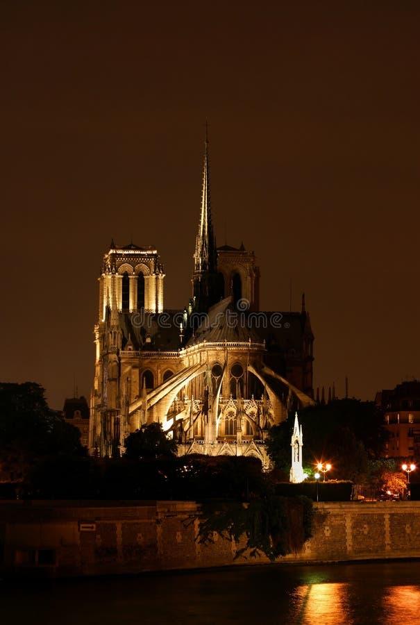 Cena da noite em Notre Dame em Paris France imagens de stock
