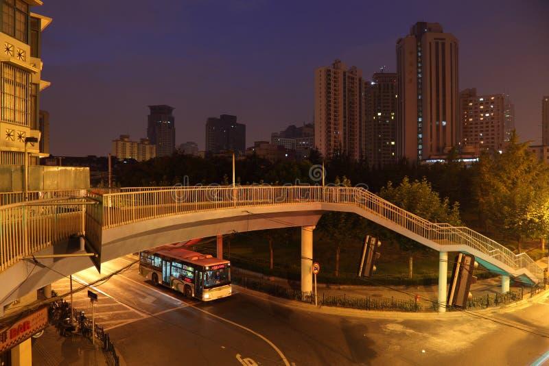 Cena da noite em Shanghai fotografia de stock
