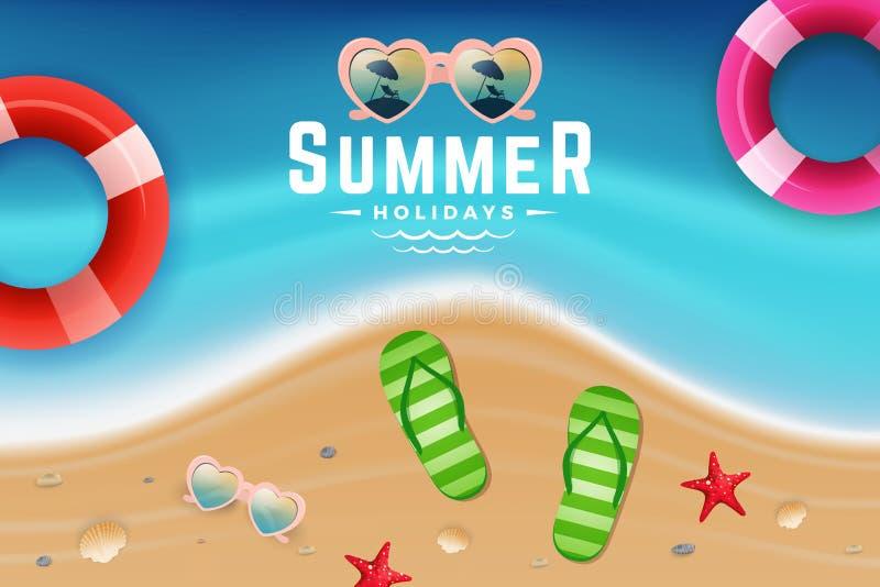 Cena da opinião superior da areia e da água do mar para o fundo das férias de verão ilustração royalty free