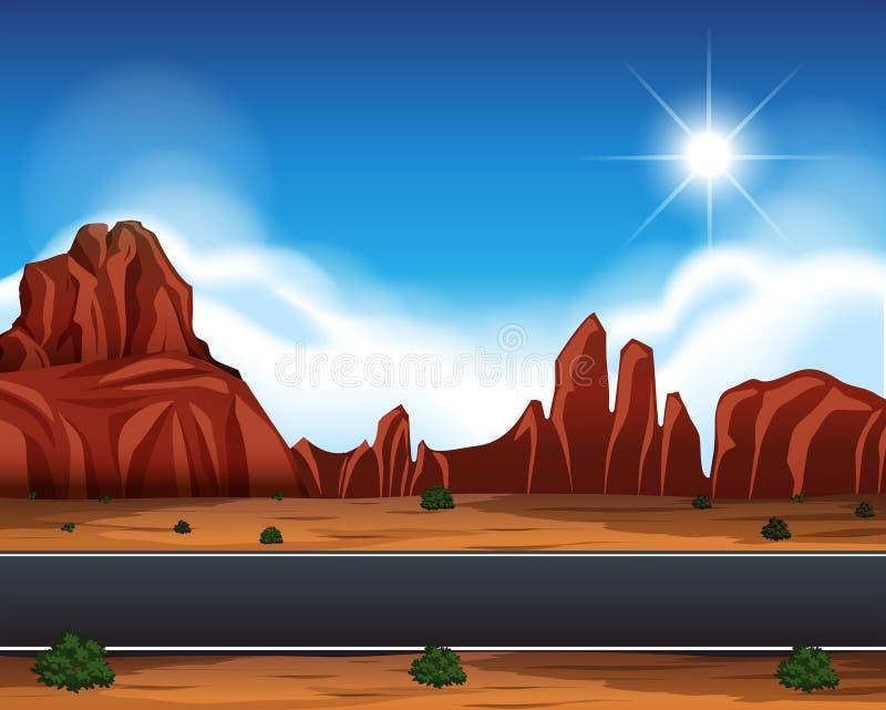 Cena da paisagem da estrada do deserto ilustração stock