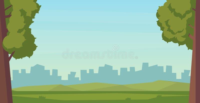 Cena da paisagem exterior do parque do verão Ilustração lisa do vetor ilustração do vetor