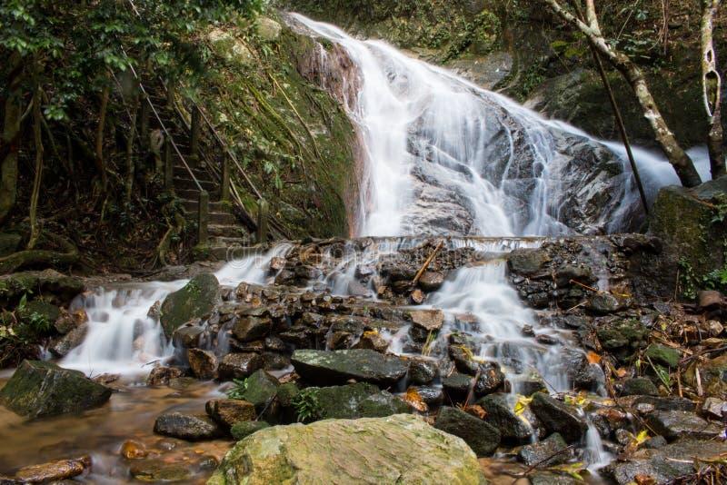 Cena da paisagem da montanha da cachoeira do kampong de Mae em Chiang Mai Tailândia fotografia de stock royalty free