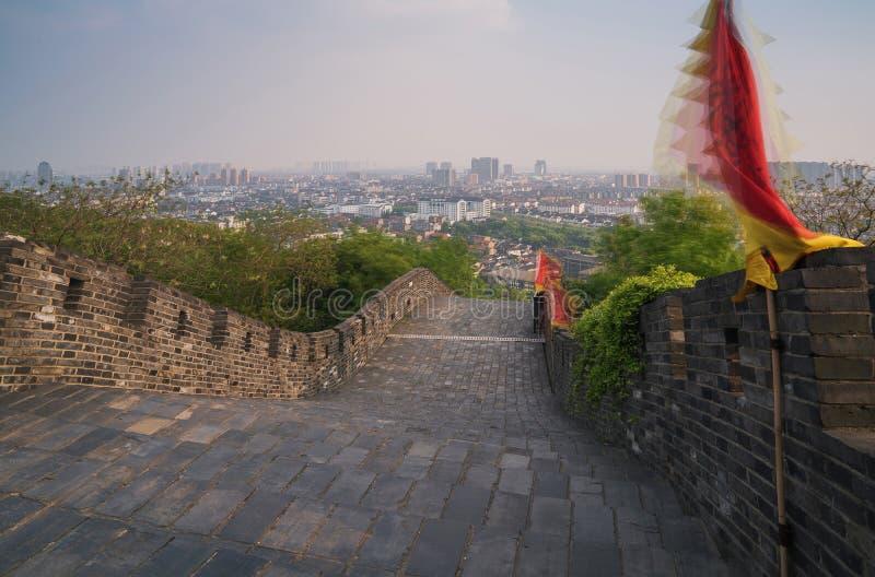 A cena da parede da cidade antiga de Suzhou China imagens de stock
