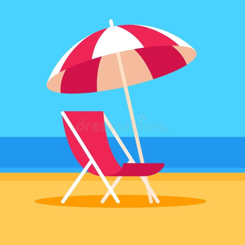 Cena da praia com cadeira e guarda-chuva ilustração stock