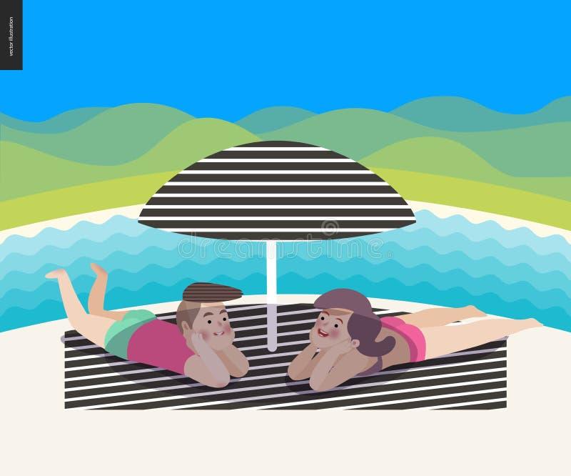 Cena da praia com uma paisagem ilustração stock