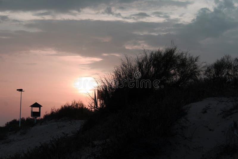 Cena da praia do por do sol fotografia de stock royalty free