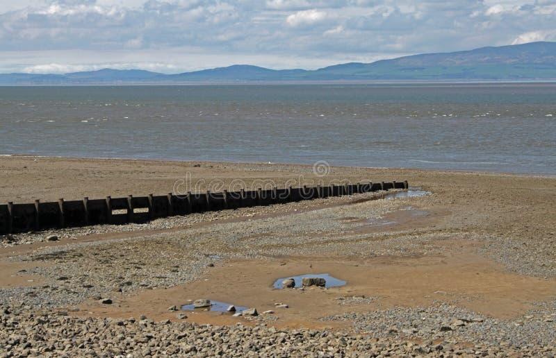 Cena da praia, perto de Silloth, Cumbria, distrito do lago fotografia de stock royalty free