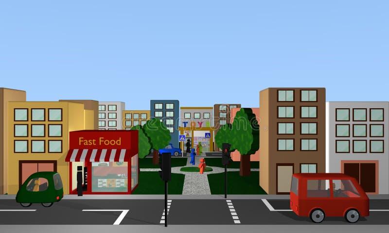 Cena da rua com condução de carros, de pedestres, de lojas e de parque ilustração royalty free